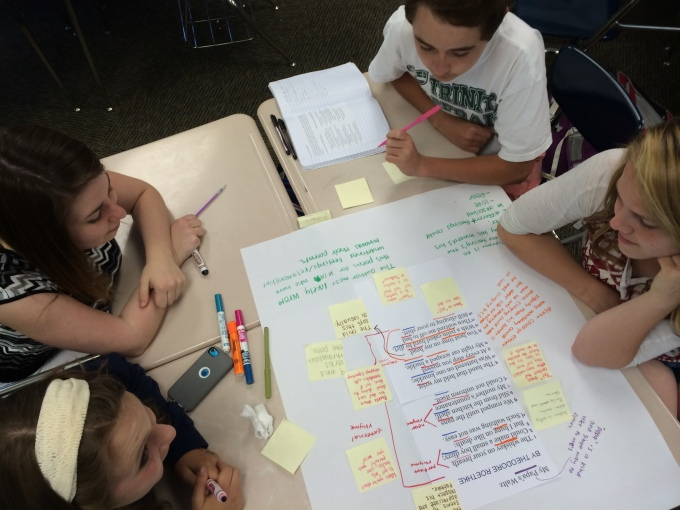 Here is a picture of the period 7 group who annotated the same poem. They used sticky notes to differentiate their findings from Period 4's noticings.
