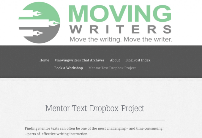 Watch this short screencast to learn how to access and add to the Mentor Text Dropbox Project.