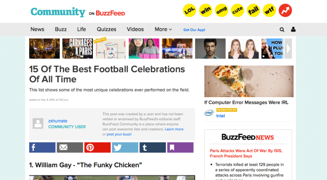 Zach's BuzzFeed List, which has had over 10,000 views! You can see his list live on BuzzFeed here: http://www.buzzfeed.com/zshumate/15-best-football-celebrations-of-all-time-1yhj4#.ud4m2vOVl