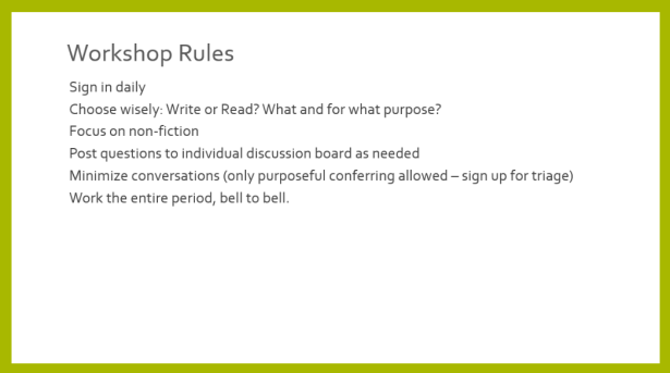 Ground Rules for Workshop