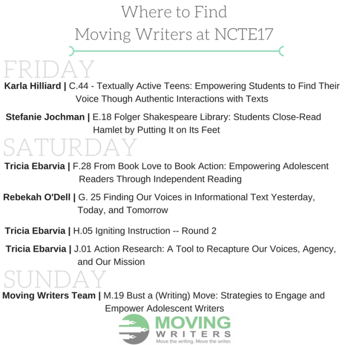 Where to Find Moving Writersat NCTE17